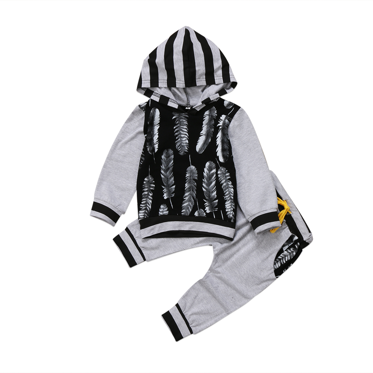 Autumn Spring Baby 2pcs Set Newborn Infant Kids Baby Boy Cotton Clothes Tops Hoodies T shirt+Long Pants Feather Outfits Set