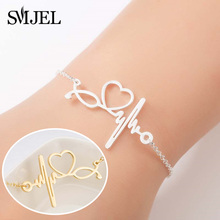 SMJEL 2019 Stainless Steel Heartbeat Cardiogram Bracelet Stethoscope Women Bracelets Graduation Gifts for Nurse Doctor Jewelry