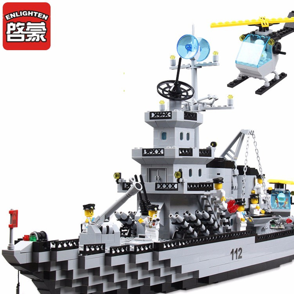 Enlighten Cruiser soldiers Military army Children Model Bricks Blocks Toys Building blocks Educational For kids enlighten building blocks military submarine model building blocks 382 pcs diy bricks educational playmobil toys for children