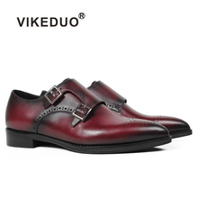 VIKEDUO Patina Handmade Women Dress Shoes Red Pointed Toe Double Monk Strap Shoes Bespoke Ladies Genuine Leather Sapato de Mujer vikeduo 2018 men s genuine leather dress shoes vintage classic monk strap shoe male plus size handmade wedding sapato masculino