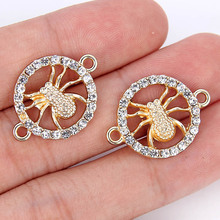 TJP 10pcs Antique Gold Tone Spiders Round Connectors Charm Pendants Hollow Open for DIY Bracelet Jewelry Making Findings 17x23mm