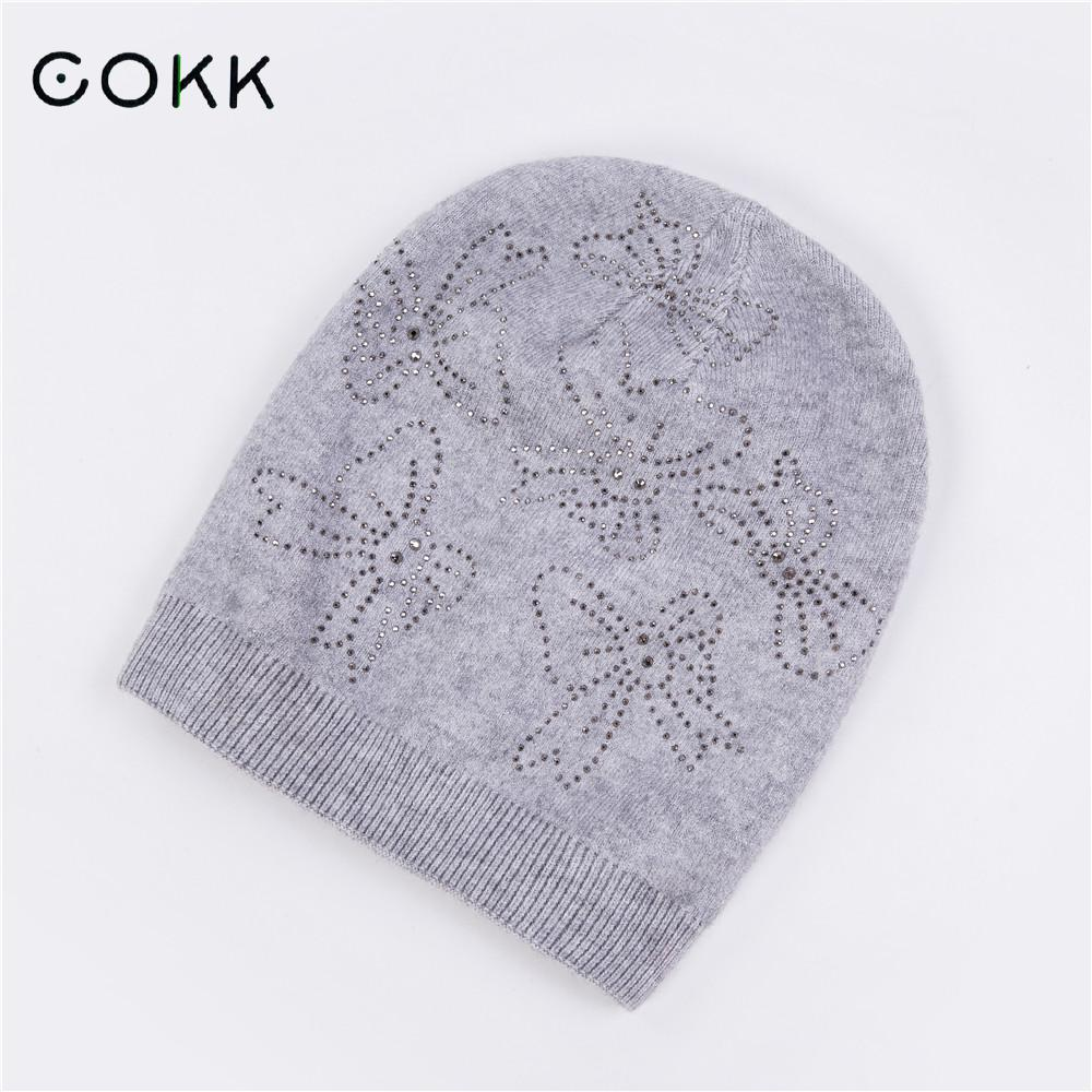 COKK Knitted Cap Wool Hats For Women Ladies Winter Hat Female Double Layer Warm Beanie Skullies Beanies Girls Bonnet 2017 New knitted skullies cap the new winter all match thickened wool hat knitted cap children cap mz081