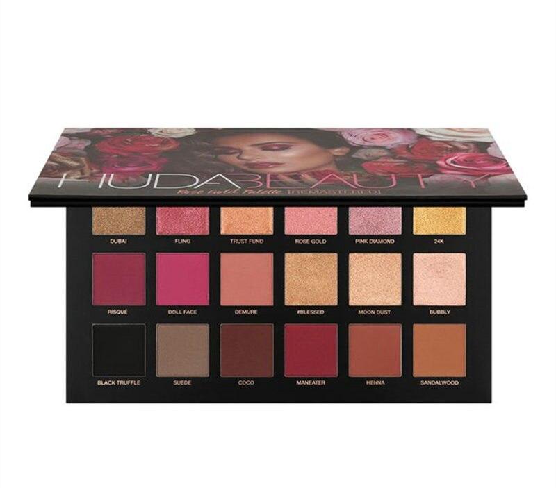 2018 NEW Huda Beauty ROSE GOLD Eyeshadow Pallete Matte Shimmer Eyeshadow Palette Nude Makeup Glitter Smoky Eye Shadow Powder