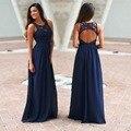 Las damas de honor de Alerta! esta super elegante Marina de Ganchillo Vestido Maxi con Espalda Abierta está de VUELTA! perfecto para cualquier ocasión especial!