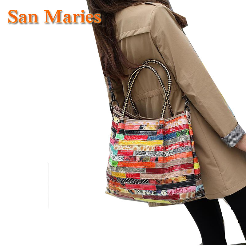 San Maries Women Cowhide Patchwork Bag Fashion Luxury Snake Pattern Designer Handbags High Quality Ladies Totes Shoulder Bag San Maries Women Cowhide Patchwork Bag Fashion Luxury Snake Pattern Designer Handbags High Quality Ladies Totes Shoulder Bag