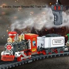 Radio-Controlled Anti-stress Children Boy Remote Control Conveyance Car Electric Steam Smoke RC Train Set Model Fun Toy Kid Gift