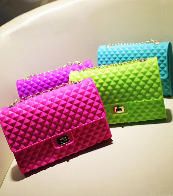 2014 spring and summer seven multicolour women's handbag neon color candy color silica gel jelly chain bag beach bag