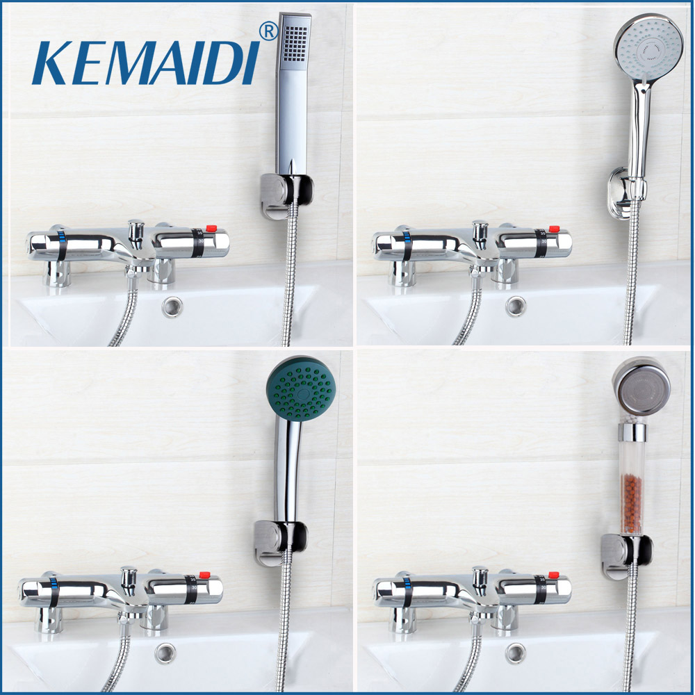 New Arrival Deck Mounted Thermostatic Shower Hand Spray Mixer Thermostatic Faucet Shower Chrome Finish Mixer Thermostatic  Tap frap new shower faucet set bathroom thermostatic faucet chrome finish mixer tap abs handheld shower wall mounted f2403