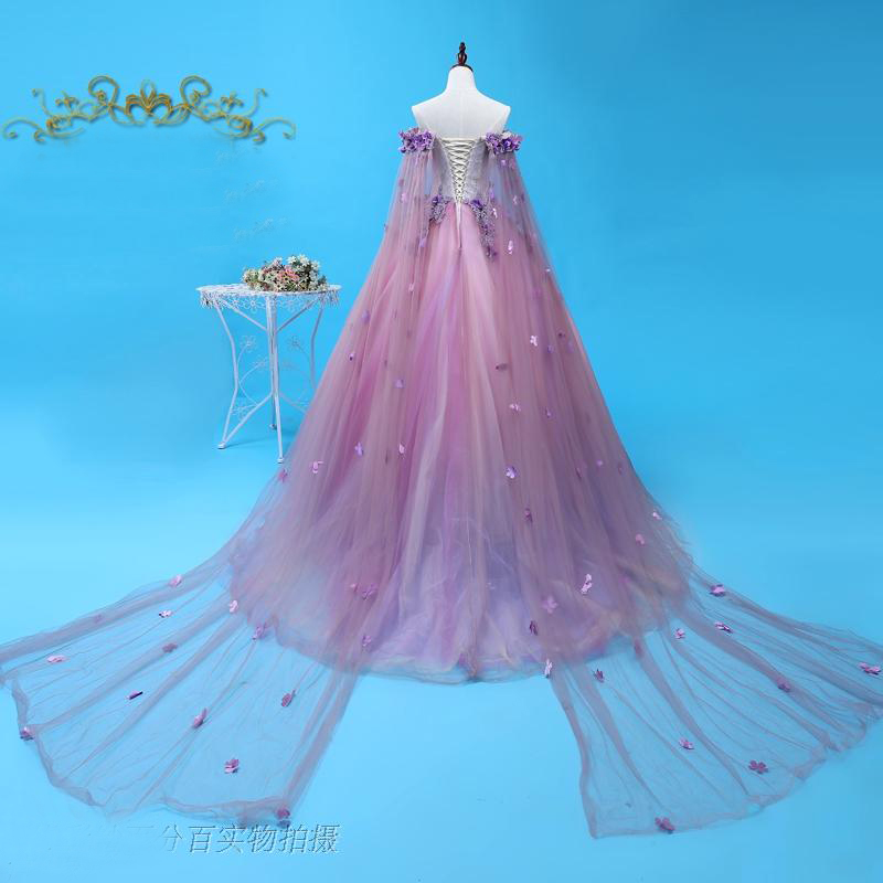Medieval Renaissance Light Blue And White Gown Dress: 100%real Light Purple Long Cloak Ball Gown Medieval Dress