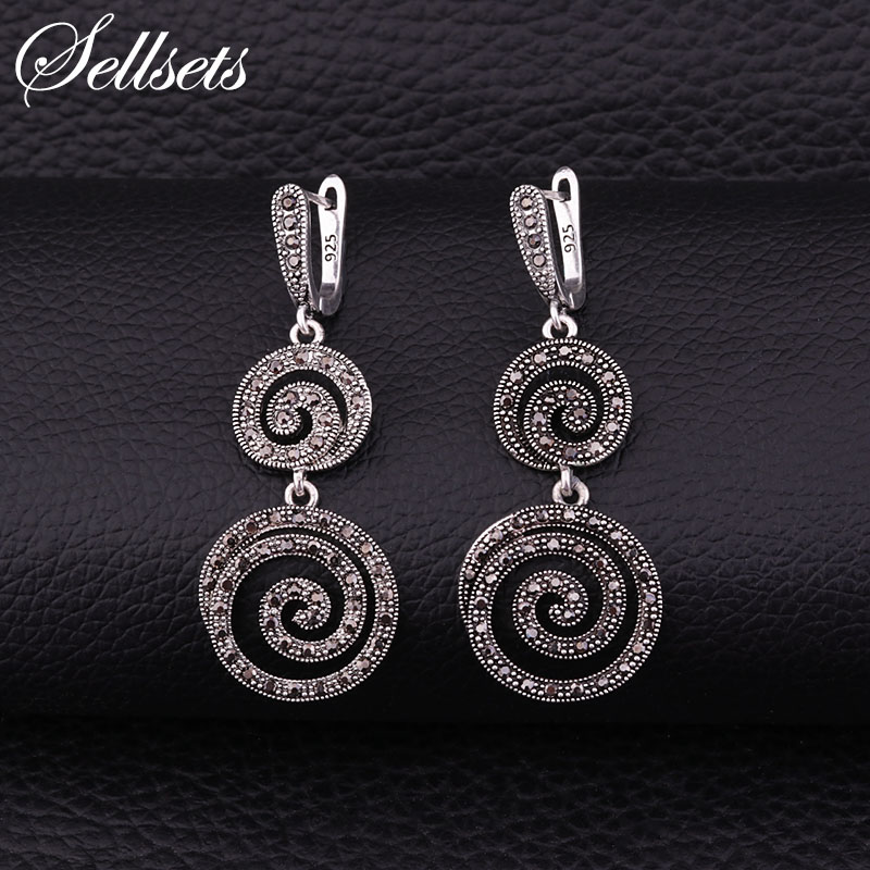 Sellsets Black Cz Rhinestone Spiral Dangle Drop Earring Vintage Silver Color Big Long Earrings Women Jewelry Wedding Party Gifts sellsets vintage silver color teardrop earring pave full black cz rhinestone and imitation pearl drop earrings for wedding party