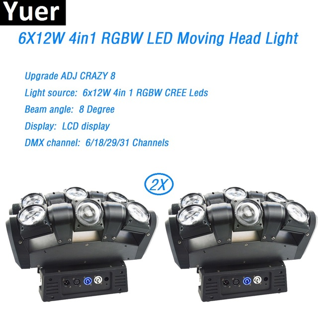 2Pcs/Lot 6x12w led beam rgbw moving head CREE led Stage Lights 360 Degree continuous rotation DMX512 Dj Disco Bar stage Lights