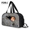 Forudesigns gris hombres bolsas de viaje de impresión animal ratón bolsas de equipaje de la lona masculina portátil equipaje bolsas de asas del viaje de fin de semana