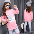 Children Clothing Set For Girls New 2016 Fashion Design Thick Cotton Warm Long-sleeves Shirts+Casual Pants 2 Pieces Suit Clothes