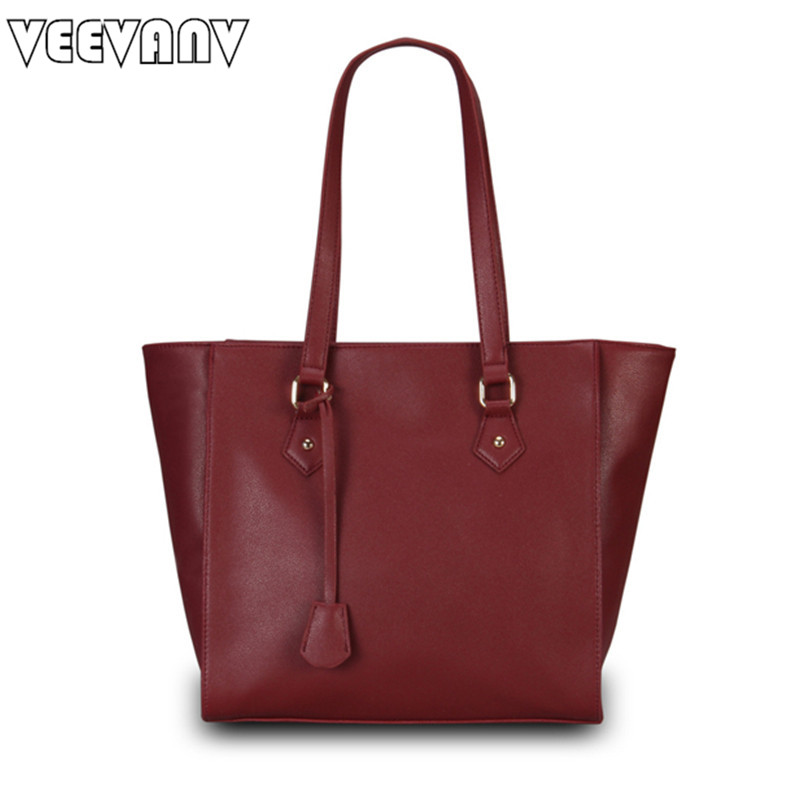 2018 New Women Leather Handbags Ladies Tote Handbag VEEVANV Women Messenger Bag Fashion Shoulder Bag PU Leather Tote Bags Female 2017 new female genuine leather handbags first layer of cowhide fashion simple women shoulder messenger bags bucket bags