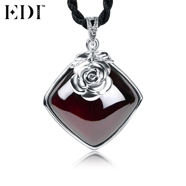 Aliexpress buy edi genuine 925 sterling silver love red rose edi genuine 925 sterling silver love red rose pendants necklaces for women square red garnet gemstones mozeypictures Images