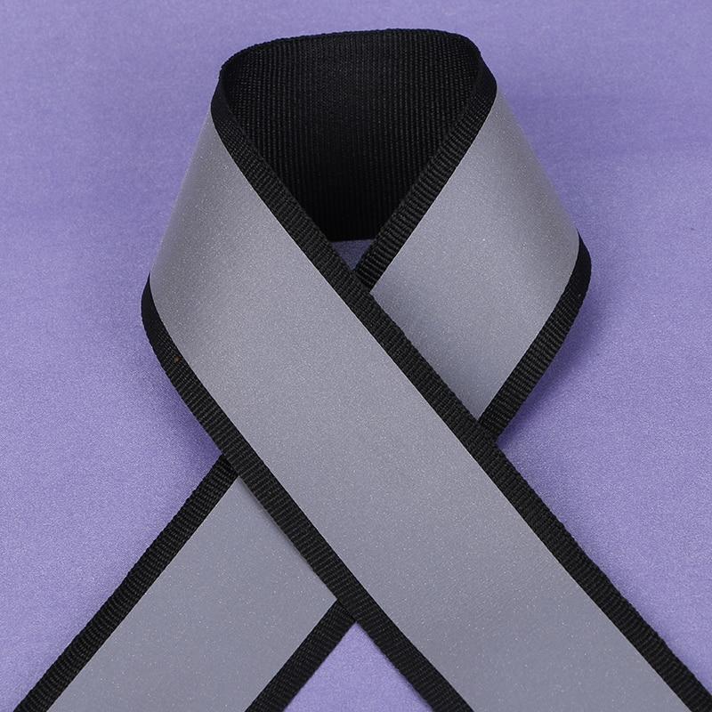 100 Meter,4*3cm Width,Black Reflective Fabric Ribbon Webbing Reflection Strip Edging Braid Sewing Accessories