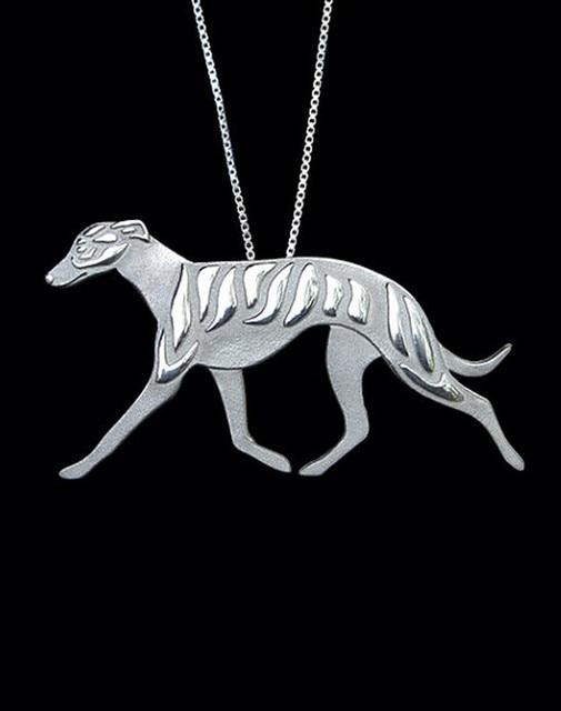 ויפט גרייהאונד כלב כלב שרשרת בעבודת יד שרשרת כסף תכשיטי תליון מובלט/צבעי זהב מצופה במלאי מהיר