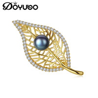 DOYUBO Luxury Women 925 Sterling Silver Leaf Brooch Fashion Freshewater Pearl Lady Cubic Zircon Silver Brooch Fine Jewelry VH009