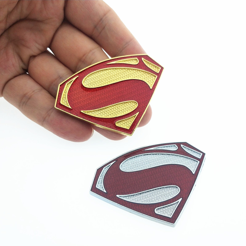 CDIY 3D 3M chrome emblem Auto logo Motorcycle accessories Funny car stickers Superman badge metal Universal Car styling