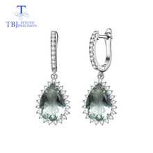 цена на TBJ,new style Natural green amethyst gemstone water drop 9*13mm 925 sterling silver fine earrings for women & girl with gift box