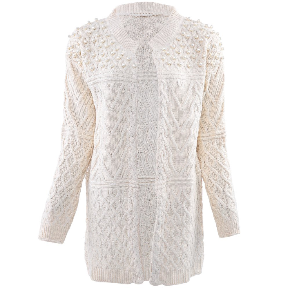 Long Cardigan Autumn Winter Sweater Women Bead Pearl Knitted ...