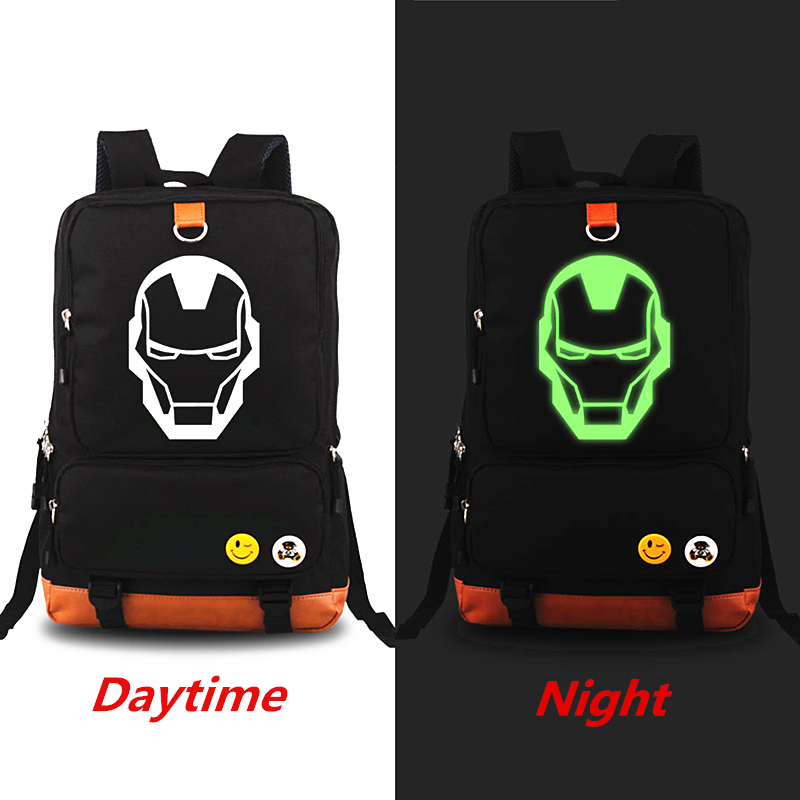 The Avengers Iron Man Luminous Backpack School Bag For Women Girl Rucksack Mochila Men backpacks Travel Bags Laptop Bag 14 15 15 6 inch flax linen laptop notebook backpack bags case school backpack for travel shopping climbing men women