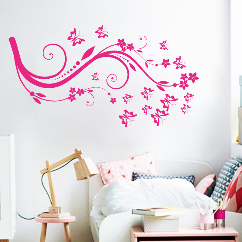 Art beautiful design home decoration vinyl butterfly flower wall sticker removable pvc house decor decals in living room bedroom in wall stickers from home