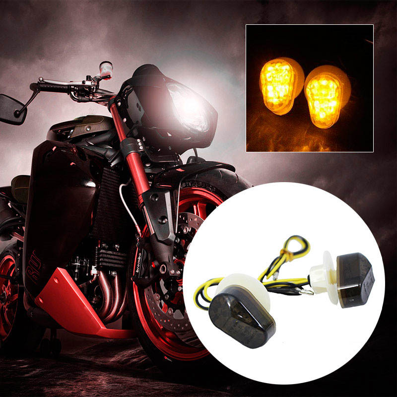 2Pcs/pack Motorcycle Flush Mount Turn Signals Light DC12V Motorbike LED Turn Signal Lamp Motor Accessories