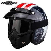 NENKI Motorcycle Helmet Open Face Helmets Vintage Style Motorbike Cruiser Touring Chopper Street Scooter Helmet Goggles Mask 610