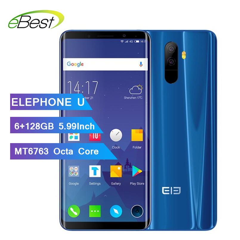 """Elephone U RAM 6GB ROM 128G Face ID Mobile phone Android 7.1 MT6763 Octa Core 5.99"""" 13MP dual back Camera 4G LTE Smartphone-in Cellphones from Cellphones & Telecommunications    1"""