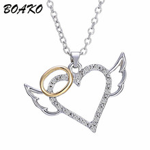 цена на Embellished with Crystal Heart Necklace Angel Wing Choker Necklace Women Korean Style Rhinestone Statement Necklace Jewelry Gift