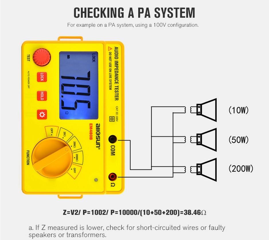 MINDEN SUN EM480B audio impedancia tesztelő hordozható CATIII - Mérőműszerek - Fénykép 3