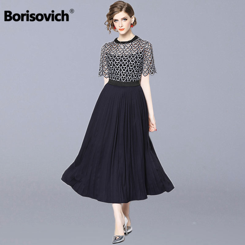 Borisovich Women Casual Long Dress New Arrival 2019 Summer Fashion Hollow Out Lace Luxury Elegant Ladies