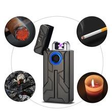 Mens Metal Fingerprint Touch Charging Pair of Arc Lighter USB Electronic Engraving Plasma  Smoking Accessories