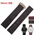 22mm Waterproof Strap Genuine leather Watch Band  with  Deployment Clasp, Free Shipping