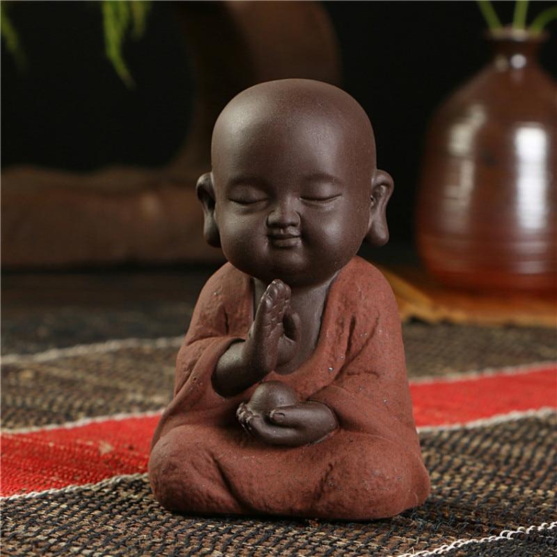 Image 3 - Buddha statues small monk color sand ceramic home club geomantic decoration Purple Sand Figurines Tea PetStatues & Sculptures   -