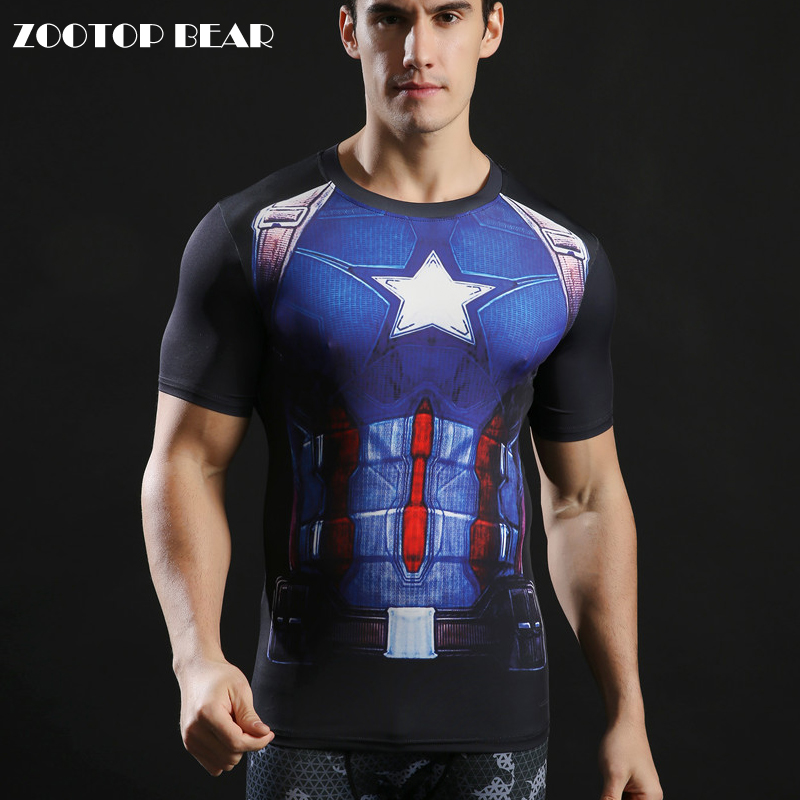 Captain America Printed Tshirts Men Tops Novelty Tight Round Neck T-shirts 2017 Brand Clothing Superhero Camiseta ZOOTOP BEAR
