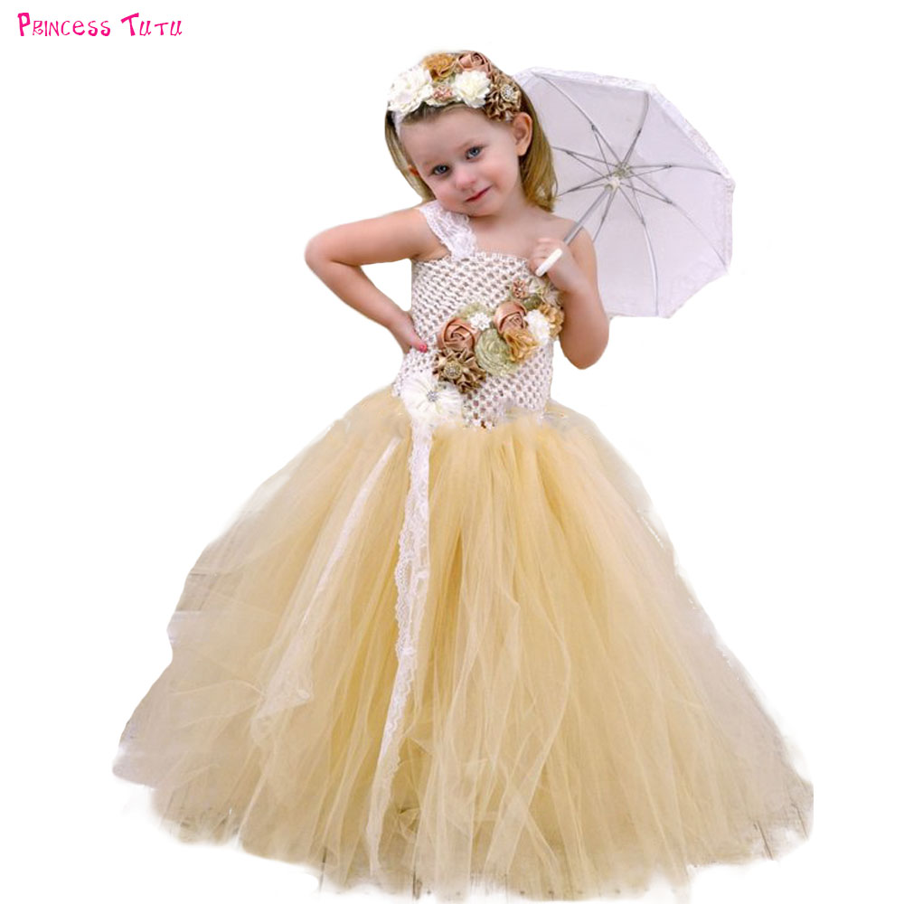 Gold Ivory Couture Satin Shabby Flower Tutu Dress with Lace Headband Baby Kids Girls Pearl Fall Flowers Wedding Party Dresses