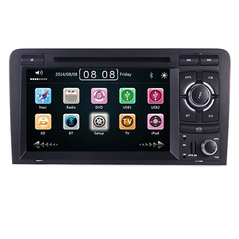 2DIN Car DVD GPS For Audi A3 S3 2002 2011 Radio GPS Bluetooth 1080P 3G USB Host Steering Wheel Control Canbus Free 8GB GPS Map