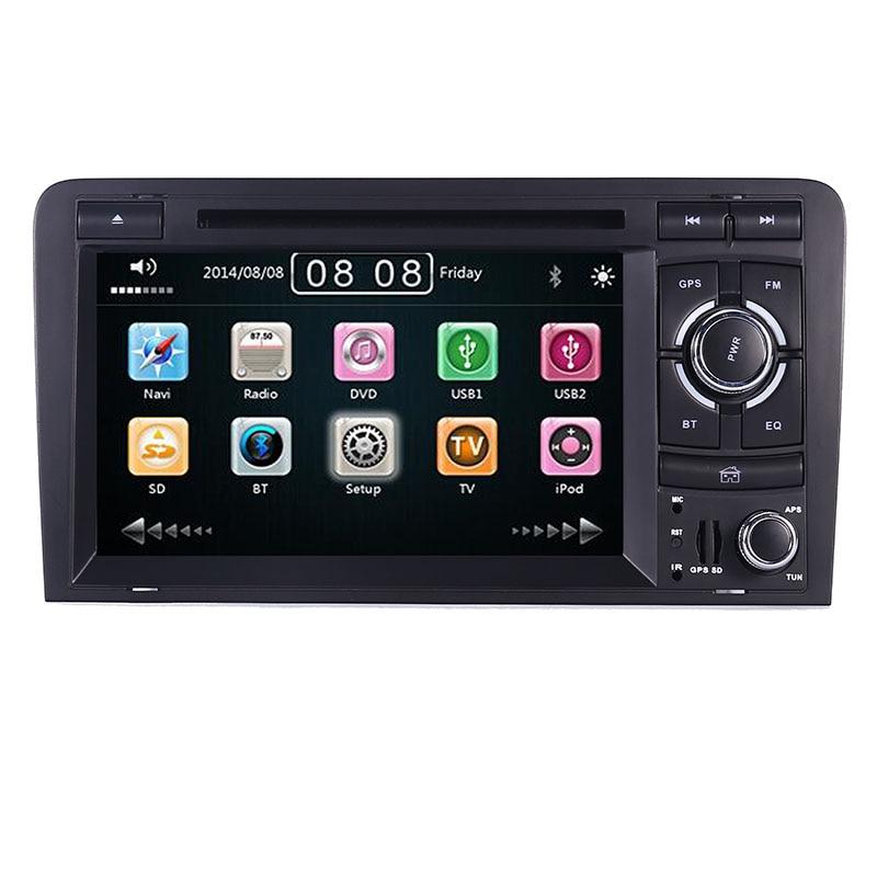 2DIN dvd de voiture GPS Pour Audi A3 S3 2002-2011 radio GPS Bluetooth 1080 P 3G USB Hôte cache de volant Contrôle canbus Livraison 8 GB GPS Carte