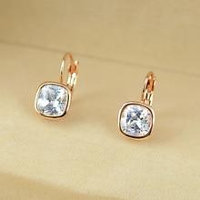 Italina Brand Austrian Crystal Jewelry Stud Earrings For Women Trendy Hook Design White Stone Earrings Fashion Accessories
