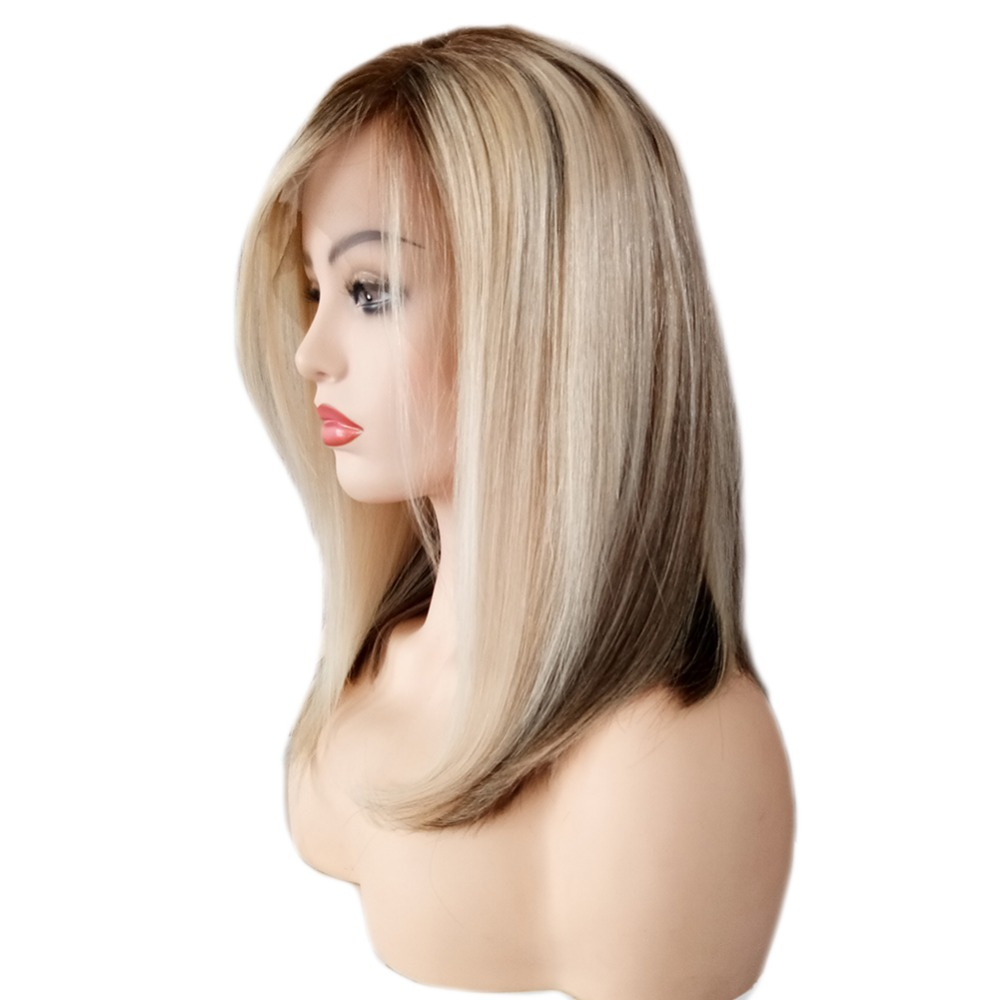 Full Shine Lace Front Short Bob Wigs Ombre Balayage #6  Fading To #60 Blonde Machine Remy Human Hair Wig 130 Density Bob Wig