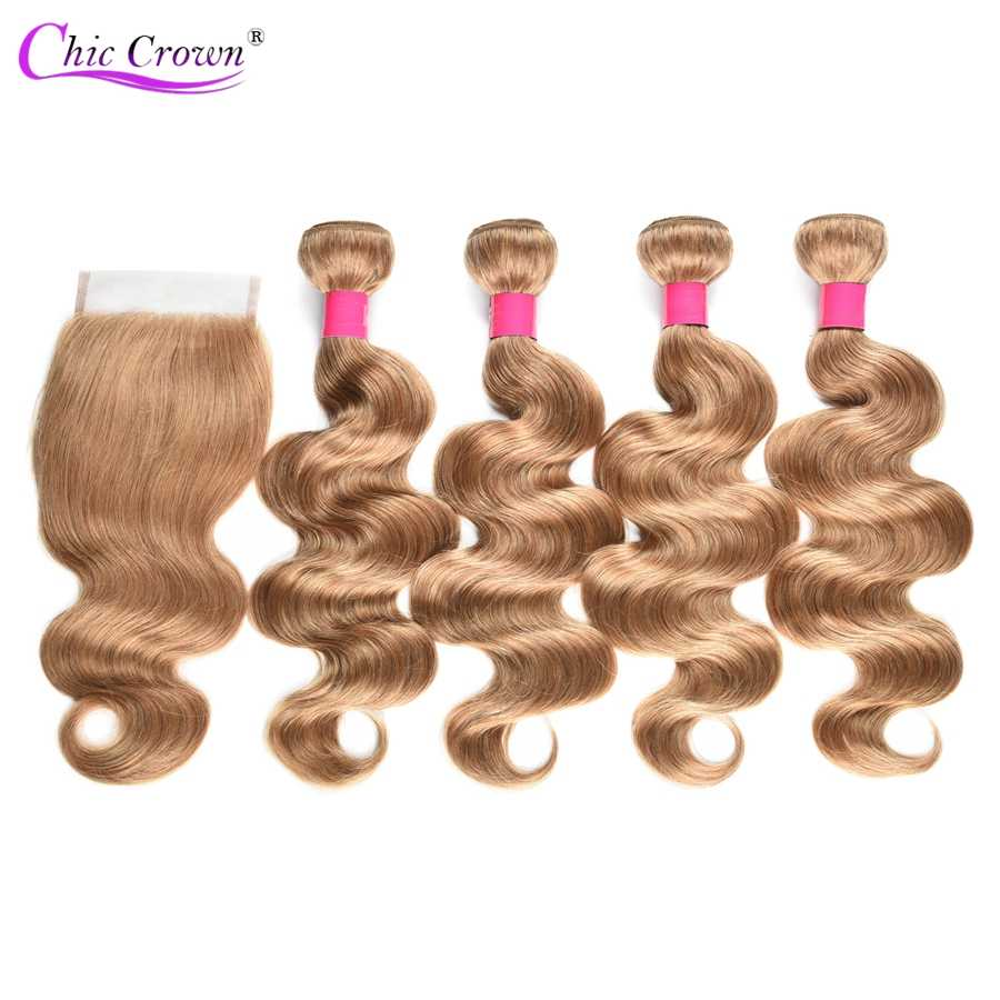 Colored Bundles With Closure Honey Blonde Bundles With Closure 27# Peruvian Hair Weave Body Wave Human Hair 4 Cheap Bundles
