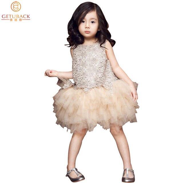 2016 Girls Lace Dresses Summer Design Children Princess O-Neck Ball Gown Dress Brand Kids Cute Outerwear Stage Dress, HC549