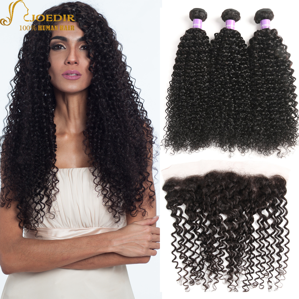 Joedir Indian Kinky Curly Hair 3 Bundles with Frontal Closure 100% Human Hair Extensions 13x4 Lace Frontal with Hair Bundles