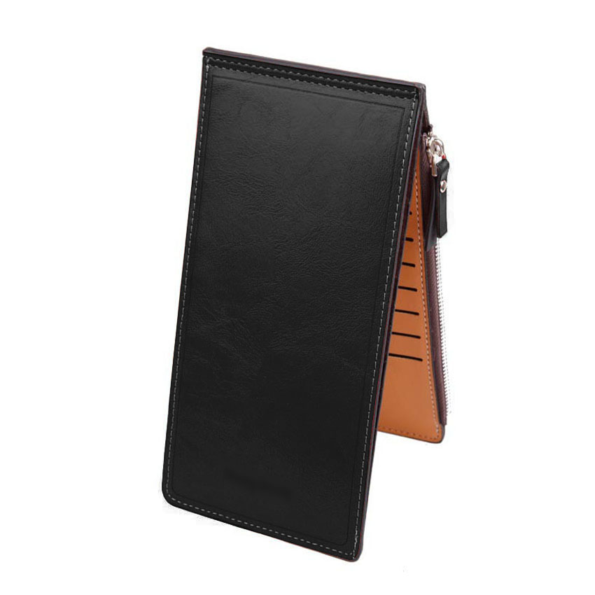 Fashion Women PU Leather Purses Wallet Unisex Thin Long Clutch Double Zippers Silm Hasp Wallets Credit