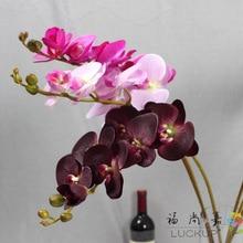 1 tallo de látex de tacto Real Orquídea mariposa artificial Flor de Orquídea mariposa para la decoración de casa nueva decoración de fiestas de bodas F472