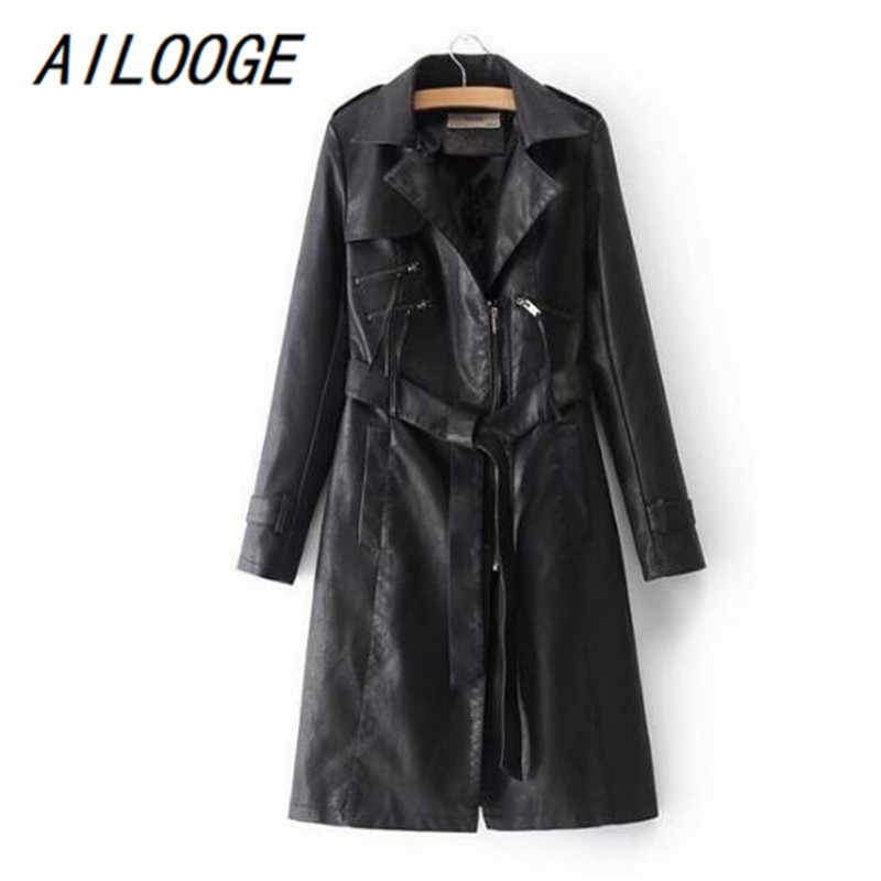 AILOOGE 2018 New Fashion Style Lapel Waist Belt Long Sleeve Leather Coat Zipper PU Leather women Long Trench Coat Black Pink