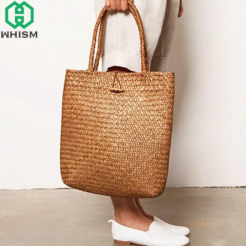 Whism rattan grama sacos de ombro palha malhas das mulheres bolsas de armazenamento artesanal saco de viagem cesta de armazenamento de vime com botão
