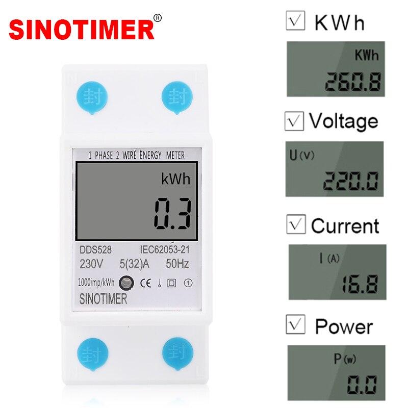 Casa carril DIN LCD pantalla Digital consumo de energía medidor kWh medidor de energía monofásico vatio vatímetro 230 V AC 50 hz